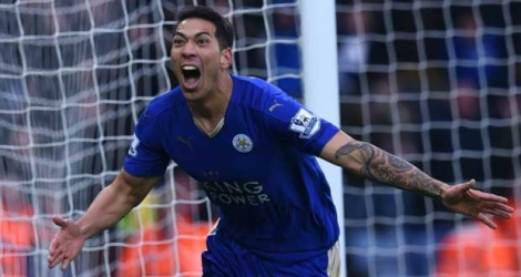 L'attaquant de Leicester Leonardo Ulloa buteur face à Norwich City au King Power Stadium, le 27 février 2016.