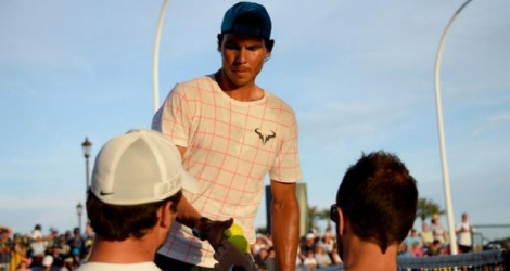 Rafael Nadal à l'entraînement en vue du tournoi d'Indian Wells en Californie, le 10 mars 2016 à Indian Wells.Rafael Nadal à l'entraînement en vue du tournoi d'Indian Wells en Californie, le 10 mars 2016 à Indian Wells.