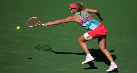 L'Allemande Angelique Kerber face à la Tchèque Denisa Allertova à Indian Wells, le 12 mars 2016.