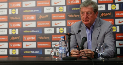 England football manager Roy Hodgson takes part in a press conference where he named the provisional 26-man England national squad for Euro 2016 at Wembley Stadium in London on May 16, 2016.  / AFP PHOTO / JUSTIN TALLIS