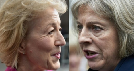 Photo-montage de portraits d'Andrea Leadsom (g) et Theresa May.