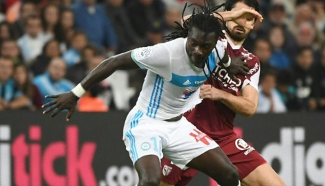 L'attaquant marseillais Bafétimbi Gomis a marqué l'unique but du match contre le FC Metz au Vélodrome, le 16 octobre 2016 Photo BORIS HORVAT. AFP