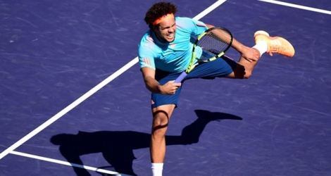 Jo-Wilfried Tsonga face à l'Italien Fabio Fognini à Indian Wells, en Californie, le 11 mars 2017