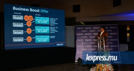 Sherry Singh, Chief Executive Officer de Mauritius Telecom, lors du lancement des offers Business Boost.
