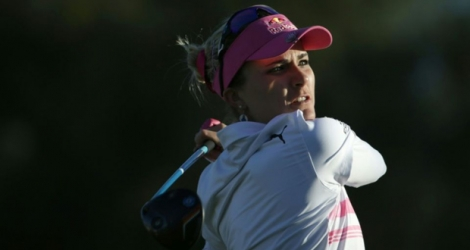 Lexi Thompson prend la tête de l'Ana Inspiration, le 1er avril 2017 à Rancho Mirage (Californie).