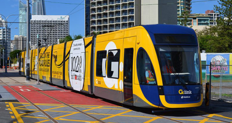 An archives picture of a Gold Coast tram of a light rail line in Queensland, Australia.