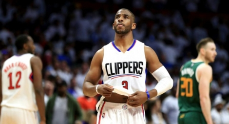 Le meneur vedette des Los Angeles Clippers Chris Paul face à Utah Jazz en NBA, le 30 avril 2017 à Los Angeles .