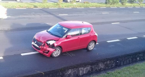 La photo de la voiture témoigne de la violence de l'impact de l'accident. (Photo : Sooraj Laljee)