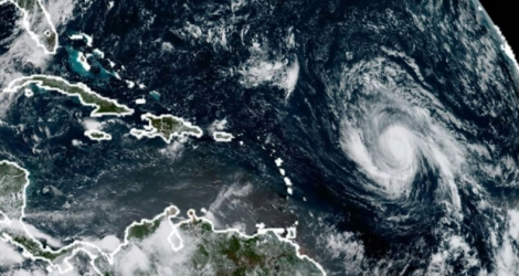 Photo satellite de l'ouragan Irma s'approchant des Petites Antilles, le 3 septembre .