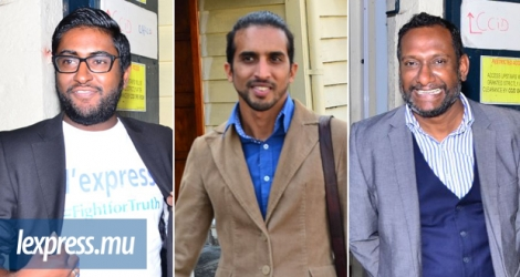 From left: Axcel Chenney, Yasin Denmamode and Nad Sivaramen, all journalists from l'express newspaper.