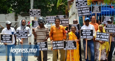 The Hindu Common Front Force staging a protest in front of La Sentinelle