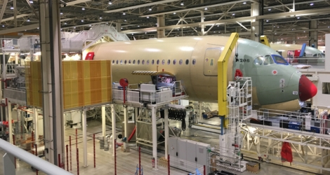 The assembly line of the A350 XWB at the Airbus HQ.