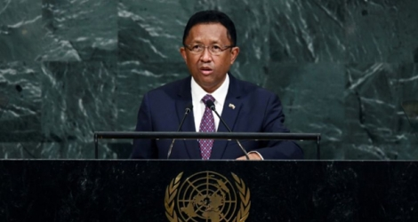 Le président malgache Hery Rajaonarimampianina à la tribune des Nations unies le 20 septembre 2017 à New York