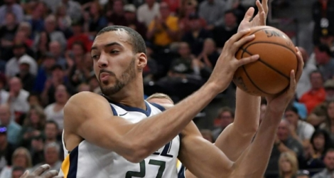 Rudy Gobert avec le Jazz d'Utah pour la réception des Denver Nuggets, le 18 octobre 2017 à Salt Lake City