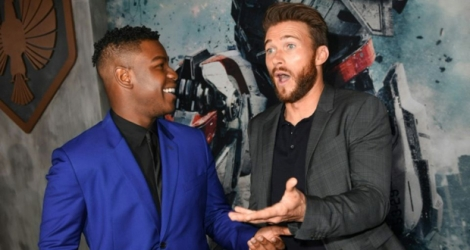 John Boyega et Scott Eastwood, acteurs de «Pacific rim: Uprising», le 21 mars 2018 à Hollywood, en Californie.