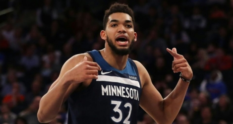 Karl-Anthony Towns des Minnesota Timberwolves face aux New York Knicks au Madison Garden, le 23 mars 2018