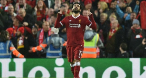 L'attaquant de Liverpool Mohamed Salah après un but contre son ancien club l'AS Rome, le 24 avril 2018 à Anfield.