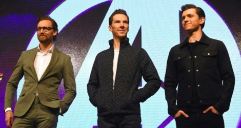 Les acteurs Tom Hiddleston, Benedict Cumberbatch et Tom, lors de la promotion du film «Avengers: Infinity war» le 12 avril 2018 à Séoul.