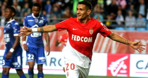 Rony Lopes auteur du but décisif pour l'AS Monaco à Troyes, le 19 mai 2018.