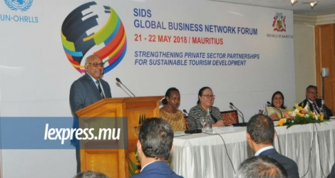 Le lancement du SIDS Global Business Network Private Sector Partnership Forum, par le ministre Prem Koonjoo, ce lundi 21 mai.
