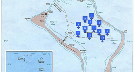 Map showing the location of anchorages in the Diego Garcia lagoon, obtained from one of the FOI documents. Source: New Internationalist.