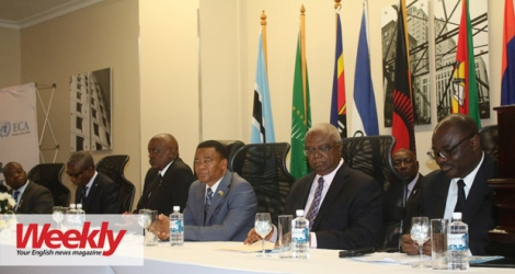 (From left to right): Victor B. Paledi, Director General, DCEC, Nonofo Molefhi, Minister for Presidential Affairs, Goverance and Public Administration, Botswana, Botswana President Mokgweetsi E.K. Masisi, Botswana Vice-President Slumber Tsogwane, Amos Sawyer, former President of Liberia and Said Adejomobi, ECA Regional Director.