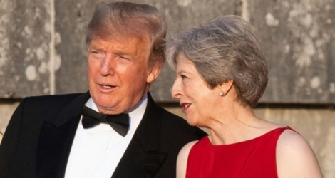 Le président Donald Trump et Theresa May, le 12 juillet 2018 à Blenheim près d'Oxford