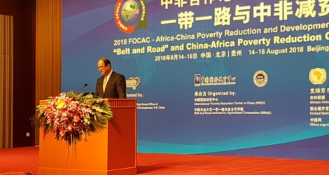Le ministre de l'Intégration sociale, Alain Wong, lors de l'Africa-China Poverty Reduction and Development Conference ce mardi 14 août à Beijing.