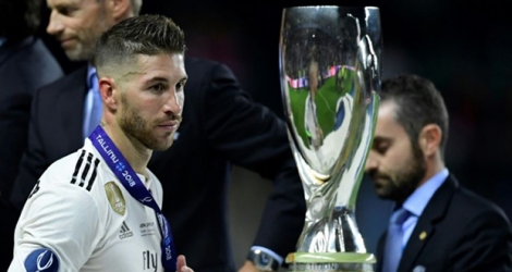 Le capitaine du Real Madrid Sergio Ramos après la Supercoupe d'Europe contre l'Atlético Madrid.