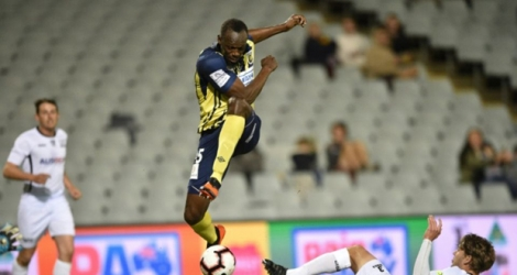 Le Jamaïquain Usain Bolt des Central Coast Mariners, auteur d'un doublé lors du match de A-League face au Macarthur South West United, à Sydney, le 12 octobre 2018.