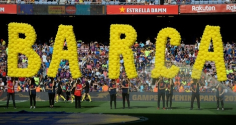 Supporteurs au Camp Nou de Barcelone, le 15 août 2018, avant le Joan Gamper Trophy friendly face à Boca Juniors.