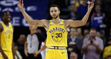 Stephen Curry des Golden State Warriors lors du match NBA face aux Washington Wizards, à Oakland, le 24 octobre 2018