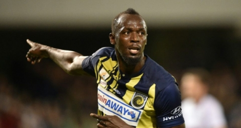 Usain Bolt lors de son premier match amical avec les Central Coast Mariners, à Sydney, le 12 octobre 2018.