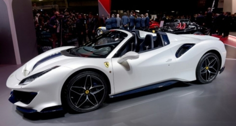 Une Ferrari 488 Pista Spider au Salon automobile de Paris, le 2 octobre 2018.