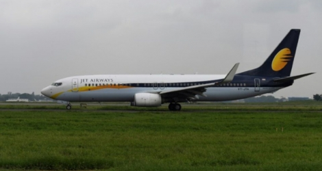 Un avion de la compagnie Jet Airways à l'aérport de New Delhi, le 10 septembre 2018 en Inde.