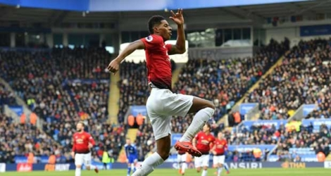 L'attaquant de Manchester United Marcus Rashford célèbre son but face à Leicester le 3 février 2019 au King Power Stadium.