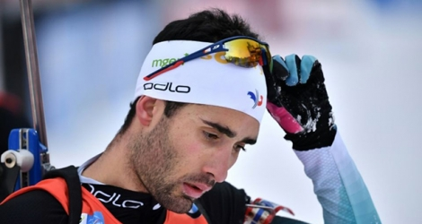 Martin Fourcade à l'issue de la mass start 15 km d'Anterselva, en Italie, le 27 janvier 2019.