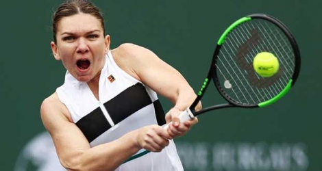 La Roumaine Simona Halep lors du 3e tour du tournoi d'Indian Wells le 10 mars 2019