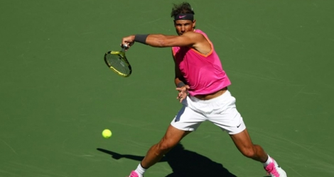 L'Espagnol Rafael Nadal contre le Serbe Filip Krajinovic au 4e tour du tournoi d'Indian Wells (Californie), le 13 mars 2019.