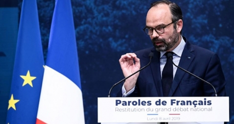 Edouard Philippe lors de la restitution du grand débat au Grand Palais le 8 avril 2019.