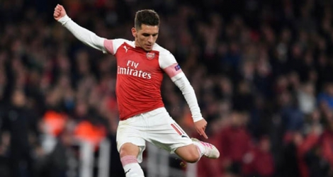 Le milieu uruguayen Lucas Torreira marque le second but d'Arsenal contre Naples en quart de finale aller de la Ligue Europa, le 11 avril 2019 à Londres.