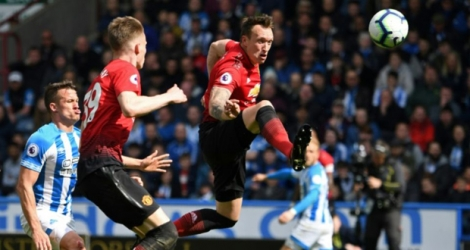Le défenseur de Manchester United, Phil Jones (c), lors du match de Premier League à Huddersfield, le 5 mai 2019.