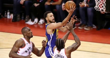 Stephen Curry des Golden State Warriors lors du match 5 des finales NBA face aux Raptors, à Toronto, le 10 juin 2019.