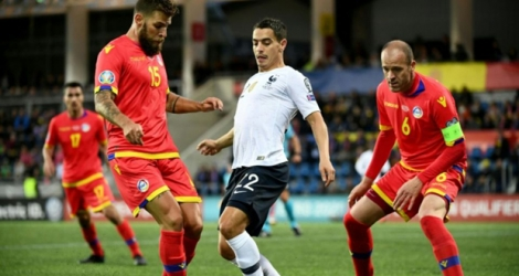 Le milieu international français Wissam Ben Yedder (c) lors du match de qualification de l'Euro 2020 face à Andorre, à La Vella.