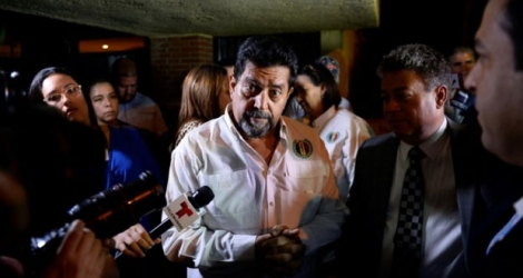 L'opposant vénézuélien Edgar Zambrano après sa libération de prison, le 17 septembre 2019 à Caracas. Zambrano, the vice president of the National Assembly.
