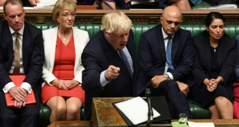 Photo diffusée par le Parlement britannique : le Premier ministre Boris Johnson à la Chambre des Communes le 25 septembre 2019.