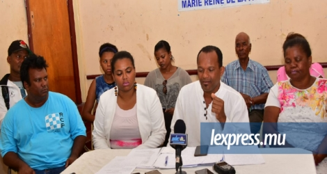 Point de presse des membres de l'Agalega Island Council ce lundi.