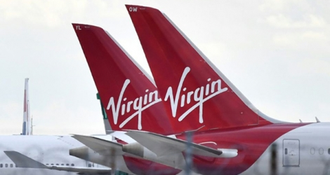 Des avions de la compagnie Virgin Atlantic stationnés le 2 avril 2020 sur le tarmac de Heathrow (ouest de Londres).