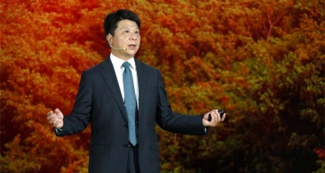 Guo Ping, Huawei's Rotating Chairman, delivers a keynote speech at the 17th annual Global Analyst Summit.