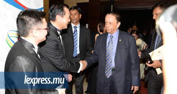 Sir Anerood Jugnauth lors du President's Dinner de la Chinese Business Chamber, à l'hôtel Intercontinental, le jeudi 24 mars. © KRISHNA PATHER